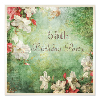 "65th Birthday Party Shabby Chic Hibiscus Flowers 5.25"" Square Invitation Card"