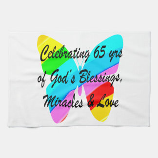 65TH BIRTHDAY RAIN BUTTERFLY DESIGN KITCHEN TOWEL