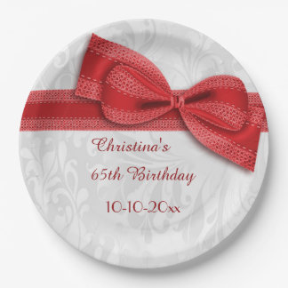 65th Birthday Red Damask and Faux Bow 9 Inch Paper Plate