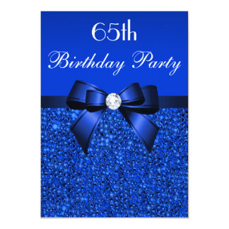 "65th Birthday Royal Blue Sequins Bow and Diamond 5"" X 7"" Invitation Card"