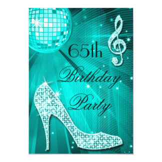 "65th Birthday Sparkle Heels and Teal Disco Ball 5"" X 7"" Invitation Card"