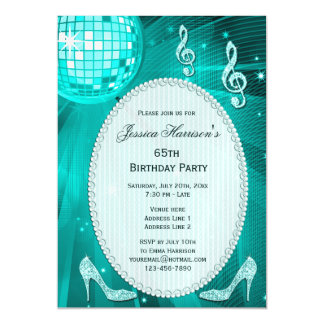 65th Birthday Sparkle Heels and Teal Disco Ball Magnetic Invitations
