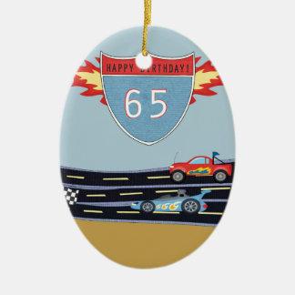 65th Birthday Stock Car Racing Theme Ceramic Oval Ornament