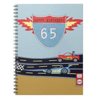 65th Birthday Stock Car Racing Theme Notebooks