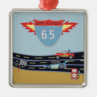 65th Birthday Stock Car Racing Theme Silver-Colored Square Ornament