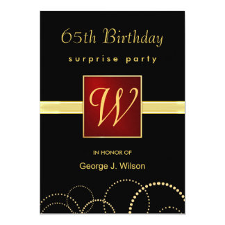 65th Birthday Surprise Party - Elegant Monogram Card