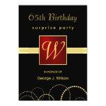 "65th Birthday Surprise Party - Elegant Monogram 5"" X 7"" Invitation Card"