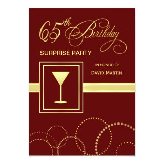 65th Birthday Surprise Party Invitation - Burgundy