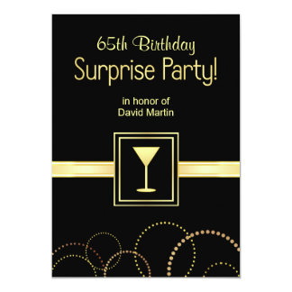 65th Birthday Surprise Party Invitations - Black