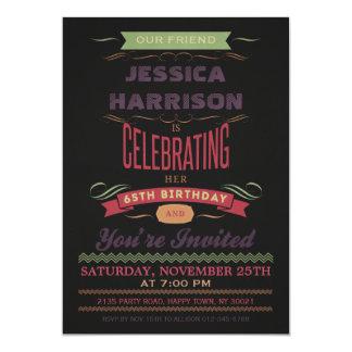 "65th Birthday Vintage Chalkboard Typography 5"" X 7"" Invitation Card"