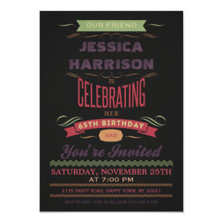 65th Birthday Vintage Chalkboard Typography 5x7 Paper Invitation Card