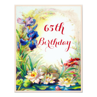 "65th Birthday Vintage Waterlilies and Iris Flowers 4.25"" X 5.5"" Invitation Card"