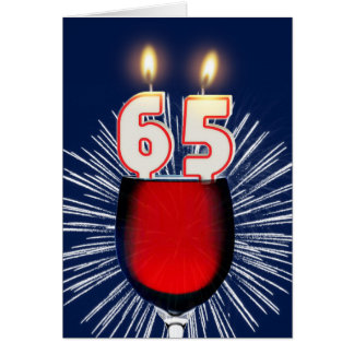 65th Birthday with wine and candles Card
