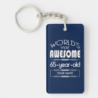 65th Birthday Worlds Best Fabulous Dark Blue Rectangle Acrylic Key Chains