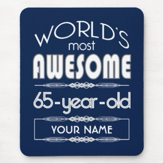 65th Birthday Worlds Best Fabulous Dark Blue Mouse Pads