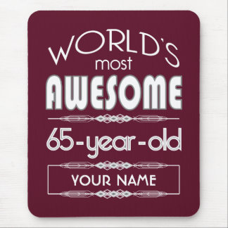 65th Birthday Worlds Best Fabulous Dark Red Mouse Pads