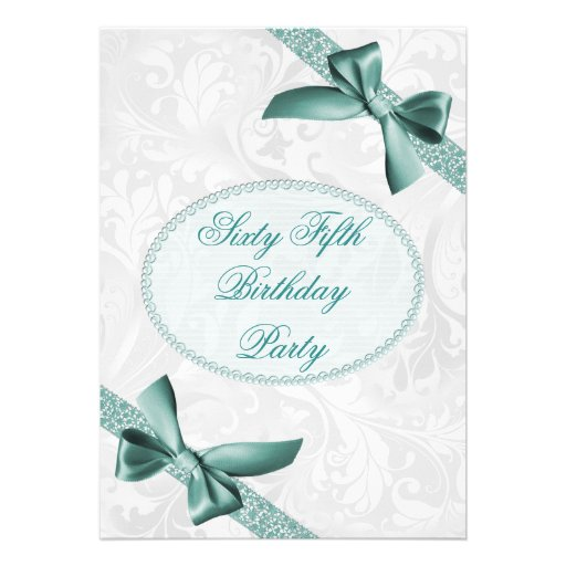 65th Damask and Bows Birthday Party Invites
