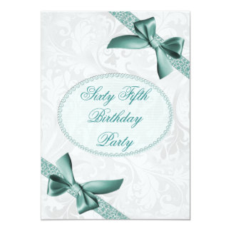 """65th Damask and Bows Birthday Party 5"""" X 7"""" Invitation Card"""