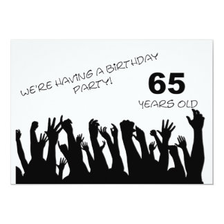 65th party invitation with cheering crowds