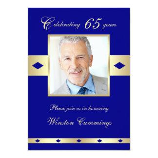 65th Photo Birthday Party Invitation Navy 65