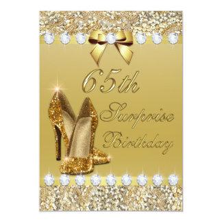 "65th Surprise Birthday Gold Heels Sequins Diamonds 5"" X 7"" Invitation Card"