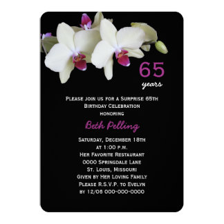 """65th Surprise Birthday Party Floral Orchid 5"""" X 7"""" Invitation Card"""