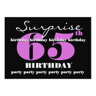 65th SURPRISE Purple Birthday Party Template Card