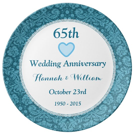 65th Wedding Anniversary Blue Damask and Lace M05C Plate