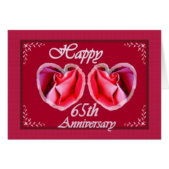 65 Wedding Anniversary Gift: 65th Wedding Anniversary Fern Filled Heart Card