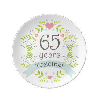 65th Wedding Anniversary Keepsake Gift Plate