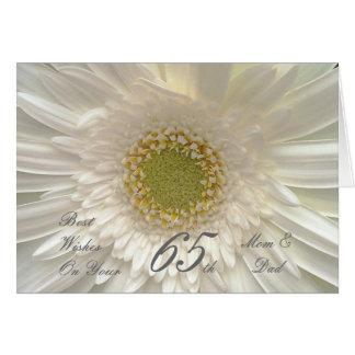 65th Wedding Anniversary Mom & Dad White Gerbera Greeting Card