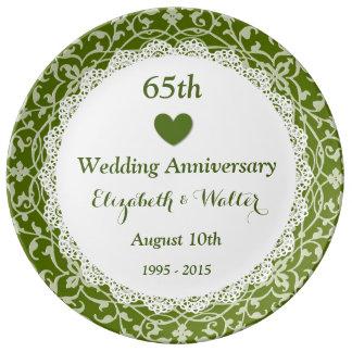 65th Wedding Anniversary Olive Green Vines B05 Plate
