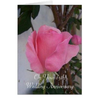 65th Wedding Anniversary Pink Rose Card