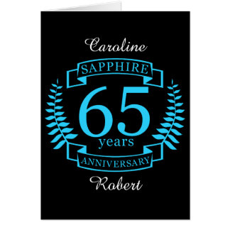 65th Wedding ANNIVERSARY SAPPHIRE Card