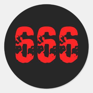 666 ROUND STICKER
