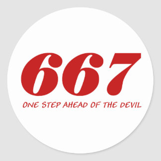 667 - One step Ahead OF The Devil - talk Round Sticker