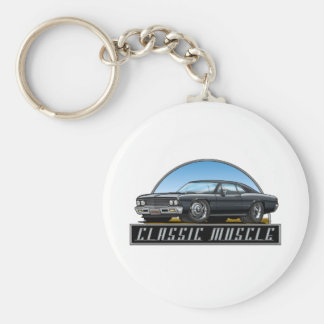 66 Chevelle Black Basic Round Button Keychain