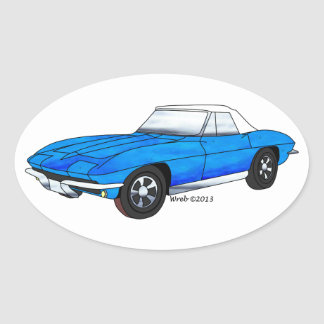 66 Corvette Roadster Oval Sticker