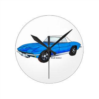 66 Corvette Roadster Round Clock