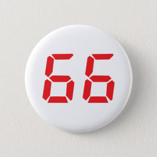 66 sixty-six red alarm clock digital number 2 inch round button