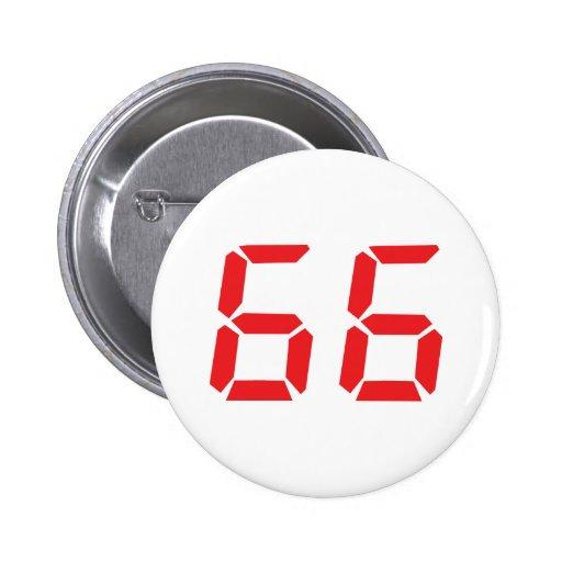 66 sixty-six red alarm clock digital number pins