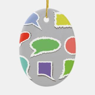 66Speech Bubbles_rasterized Ceramic Ornament