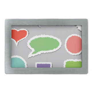 66Speech Bubbles_rasterized Rectangular Belt Buckle
