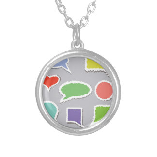 66Speech Bubbles_rasterized Silver Plated Necklace