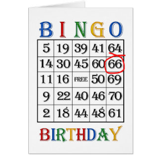 66th Birthday Bingo card