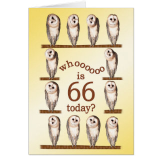 66th birthday, Curious owls card. Card