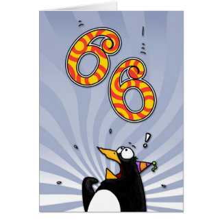 66th Birthday - Penguin Surprise Card