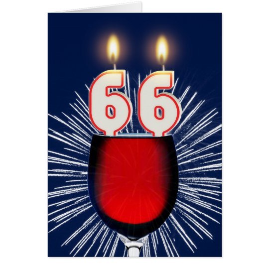 66th Birthday with wine and candles Card