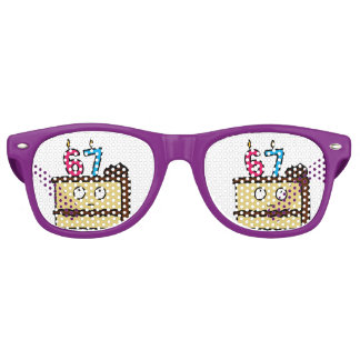 67th Birthday Cake with Candles Party Shades