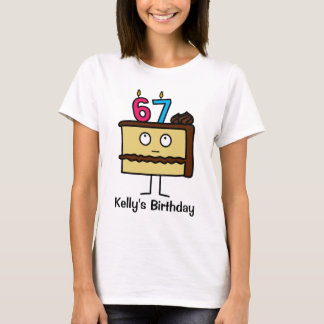 67th Birthday Cake with Candles T-Shirt